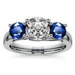 Trellis Three Sapphire Gemstone Engagement Ring in Platinum | Thumbnail 01