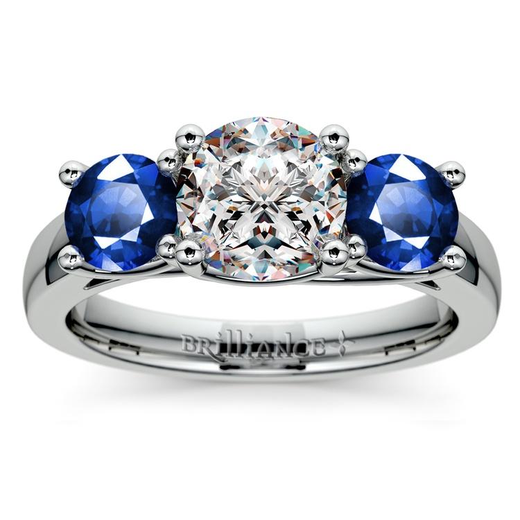 Trellis Three Sapphire Gemstone Engagement Ring in White Gold   01
