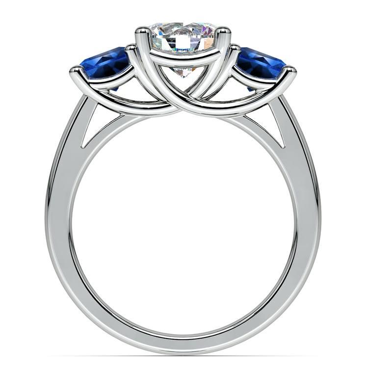 Trellis Three Sapphire Gemstone Engagement Ring in White Gold   02
