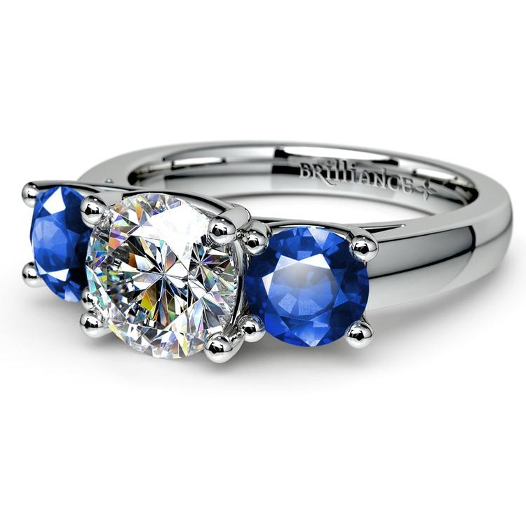 Trellis Three Sapphire Gemstone Engagement Ring in White Gold   04