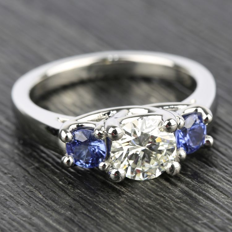 Trellis Three Sapphire Gemstone Engagement Ring in White Gold   05