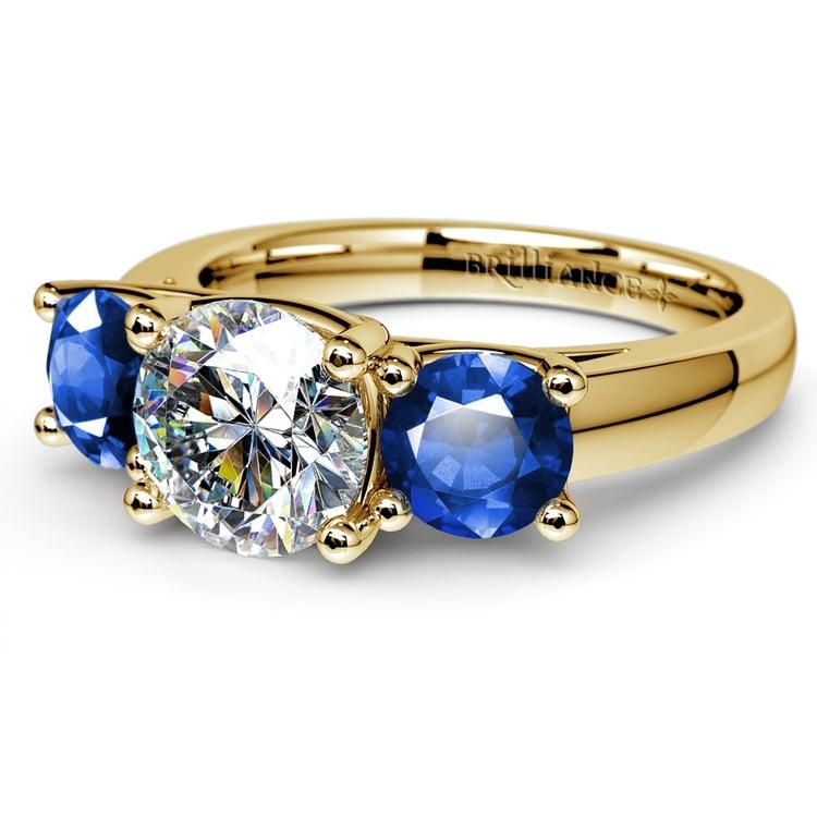 Trellis Three Sapphire Gemstone Engagement Ring in Yellow Gold | 04