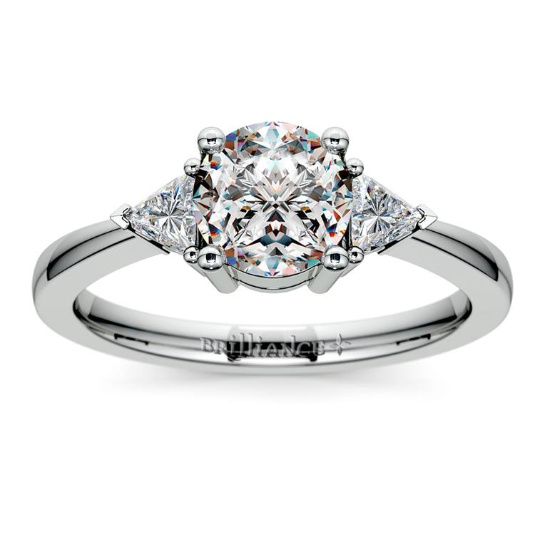 Trillion Diamond Engagement Ring in White Gold (1/3 ctw) | 01