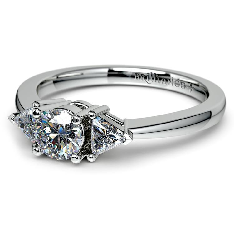 Trillion Diamond Engagement Ring in White Gold (1/3 ctw) | 04