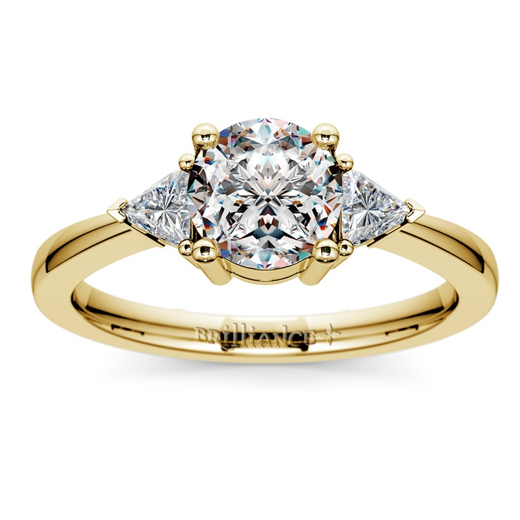 Trillion Diamond Engagement Ring in Yellow Gold (1/3 ctw) | 01