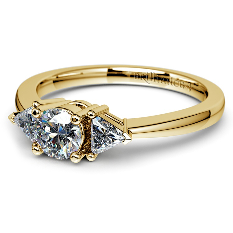 Trillion Diamond Engagement Ring in Yellow Gold (1/3 ctw) | 04