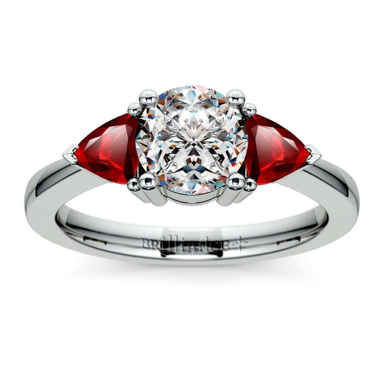 Trillion Ruby Gemstone Engagement Ring in White Gold   01