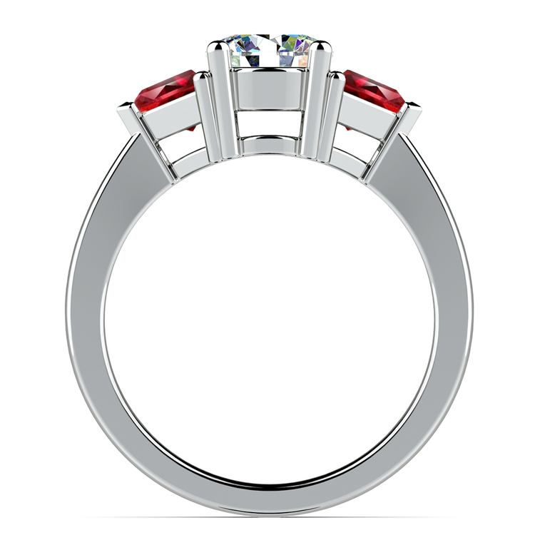 Trillion Ruby Gemstone Engagement Ring in White Gold   02