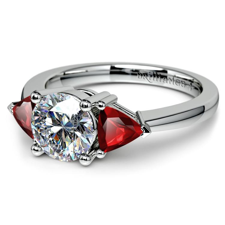 Trillion Ruby Gemstone Engagement Ring in White Gold   04
