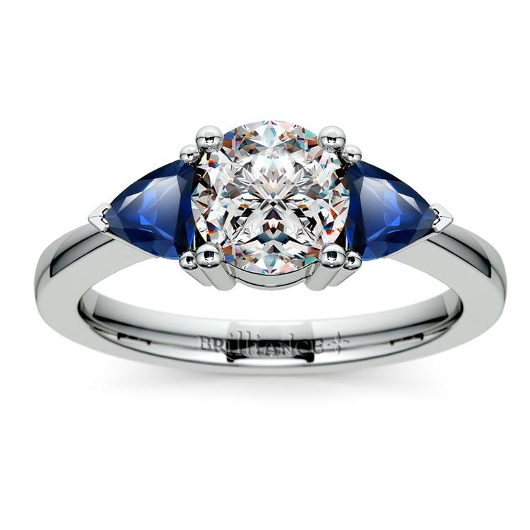 Trillion Sapphire Gemstone Engagement Ring in White Gold | 01
