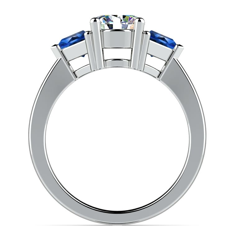 Trillion Sapphire Gemstone Engagement Ring in White Gold | 02