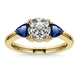 Trillion Sapphire Gemstone Engagement Ring in Yellow Gold