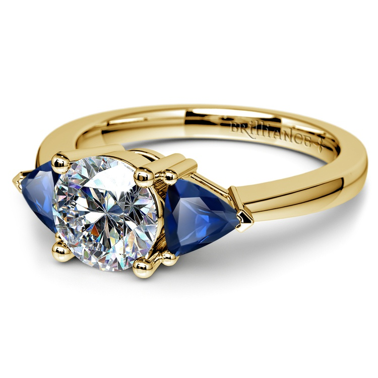 Trillion Sapphire Gemstone Engagement Ring in Yellow Gold | 04