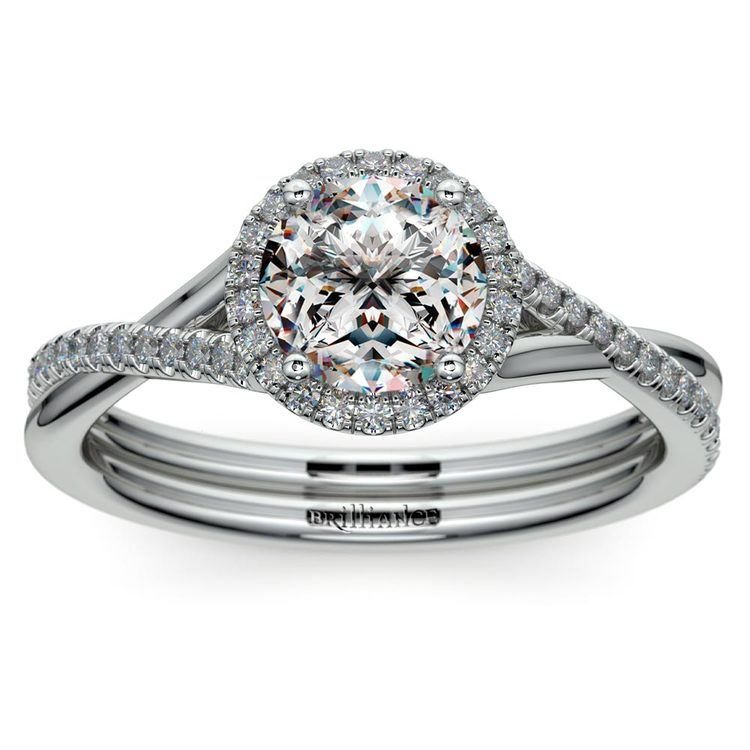 Twisted Halo Engagement Ring Setting In Platinum | 01