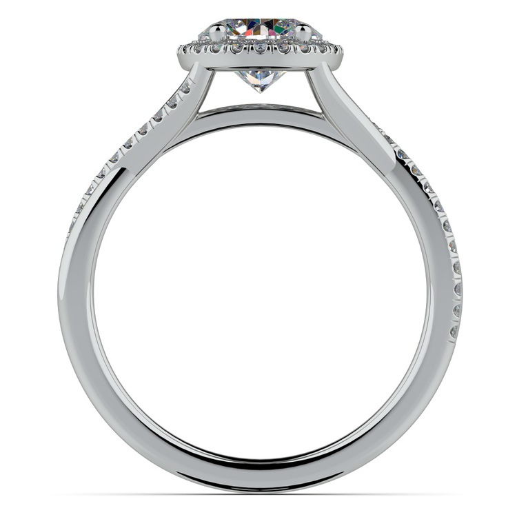 Twisted Halo Engagement Ring Setting In Platinum | 02