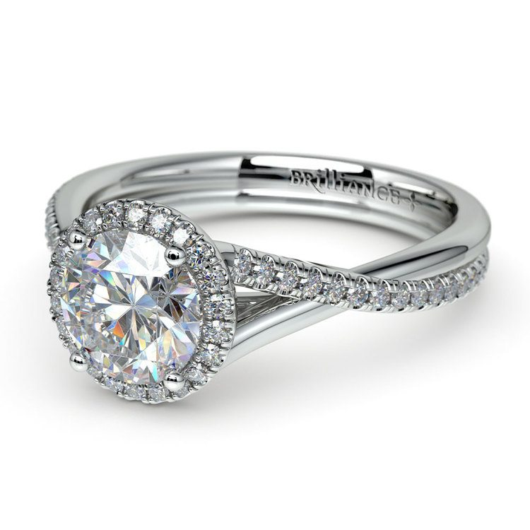 Twisted Halo Engagement Ring Setting In Platinum | 04