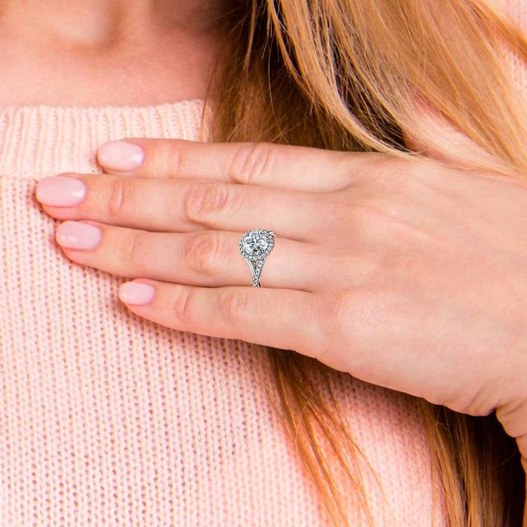 Twisted Halo Engagement Ring Setting In Platinum | 06