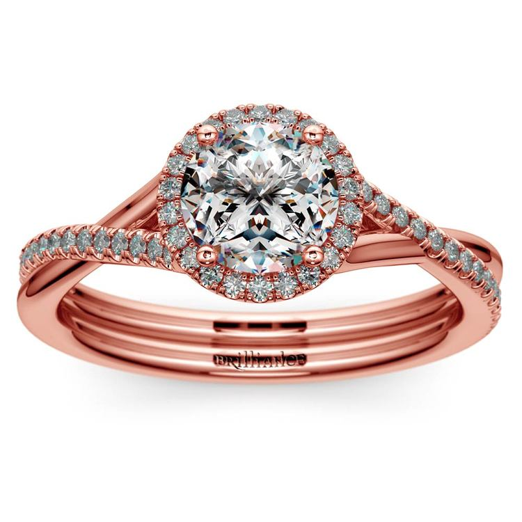 Twisted Halo Diamond Engagement Ring In Rose Gold   01