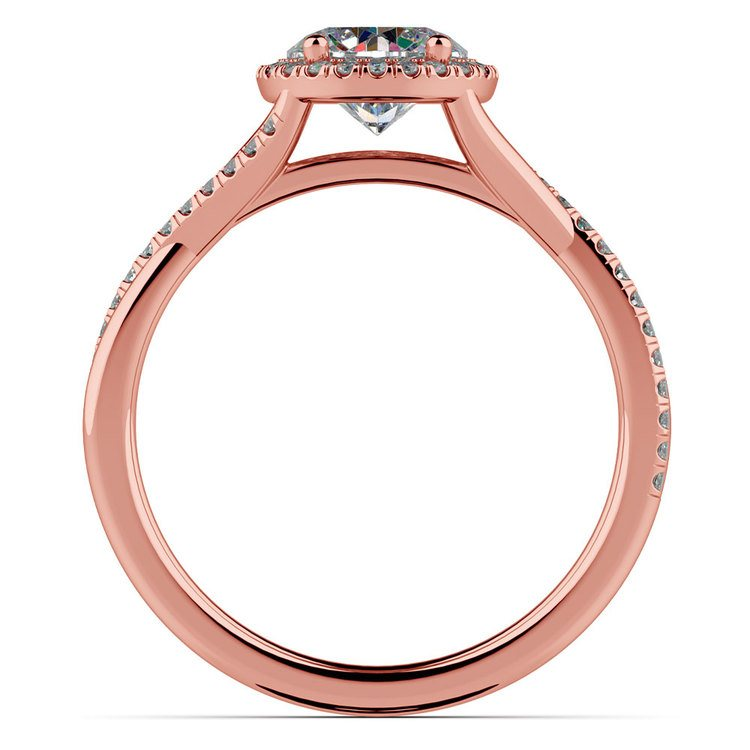 Twisted Halo Diamond Engagement Ring In Rose Gold   02