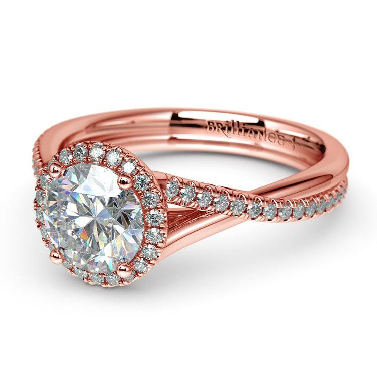 Twisted Halo Diamond Engagement Ring In Rose Gold   04