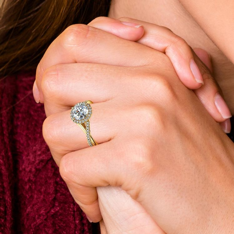 Twisted Halo Diamond Engagement in Yellow Gold | 06