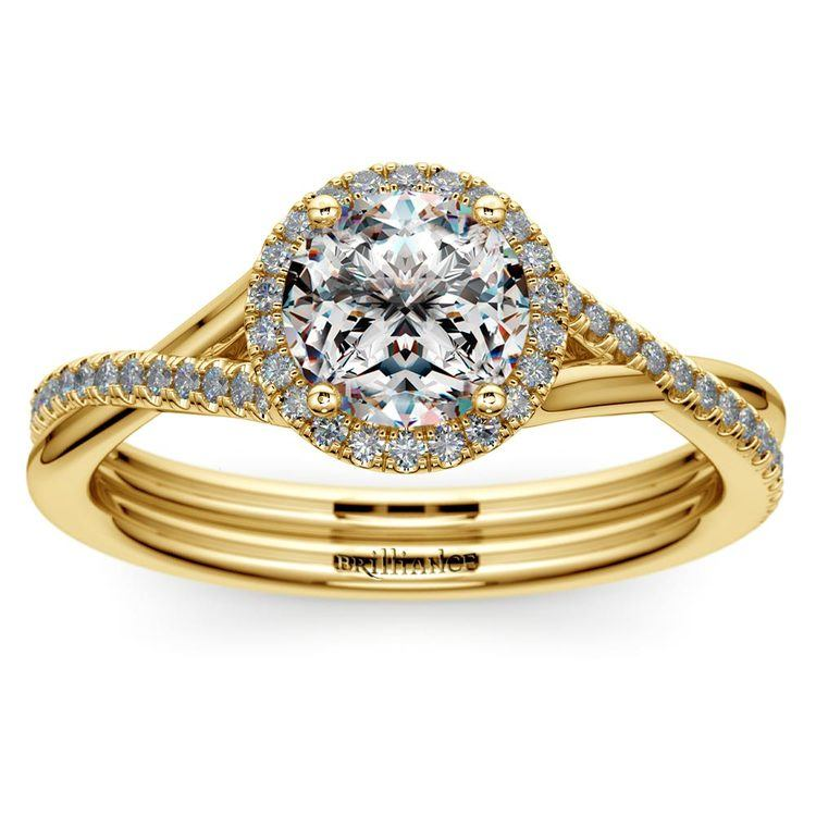 Twisted Halo Diamond Engagement in Yellow Gold | 01