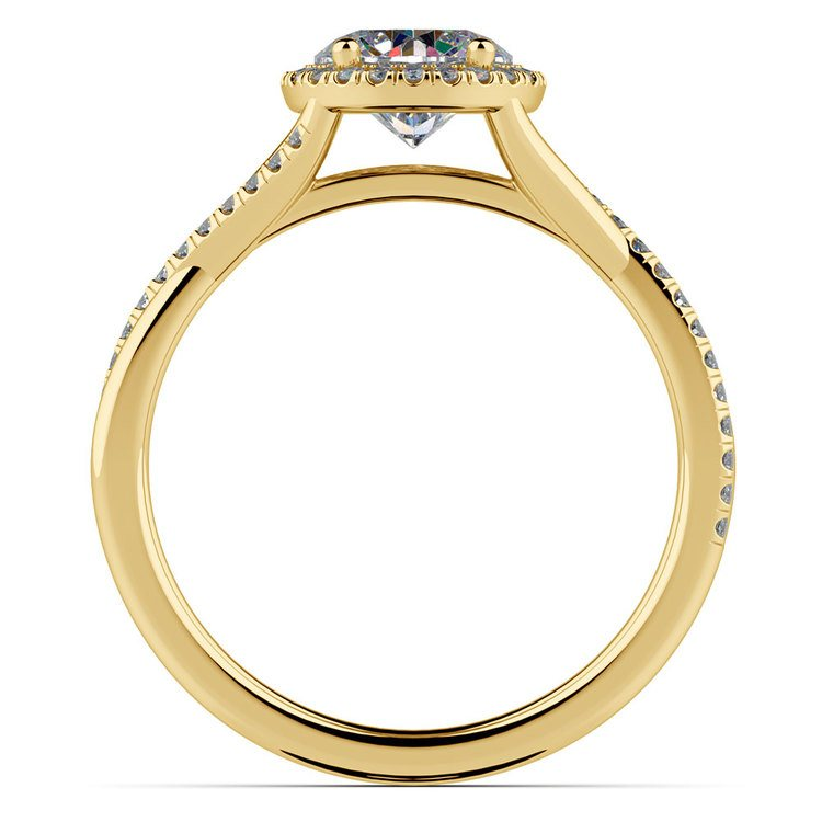 Twisted Halo Diamond Engagement in Yellow Gold | 02
