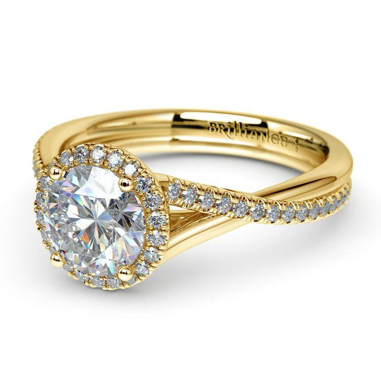Twisted Halo Diamond Engagement in Yellow Gold | 04
