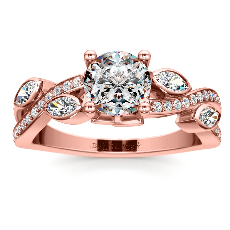 Twisted Petal Diamond Engagement Ring in Rose Gold | 01