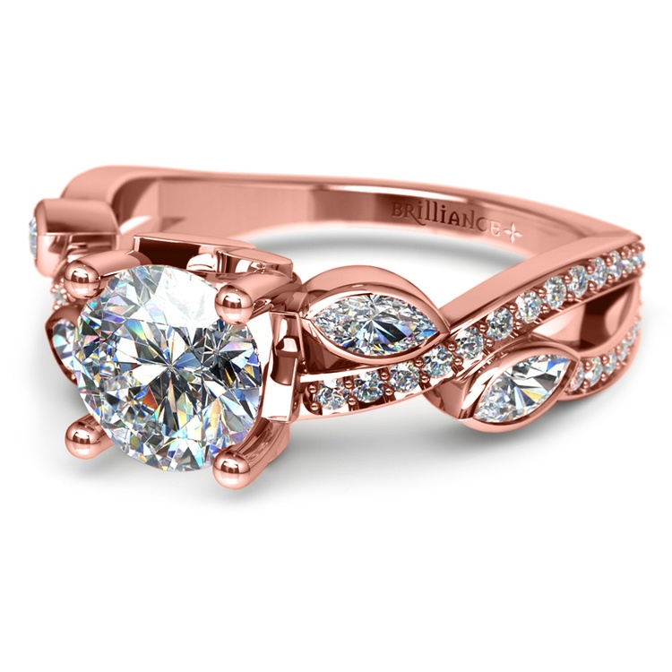 Twisted Petal Diamond Engagement Ring in Rose Gold | 04