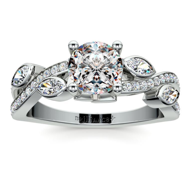 Twisted Petal Diamond Engagement Ring in Platinum | 01
