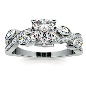 Twisted Petal Diamond Engagement Ring in White Gold