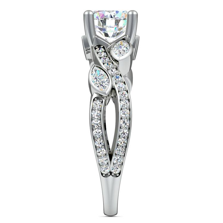 Twisted Petal Diamond Engagement Ring in White Gold | 03