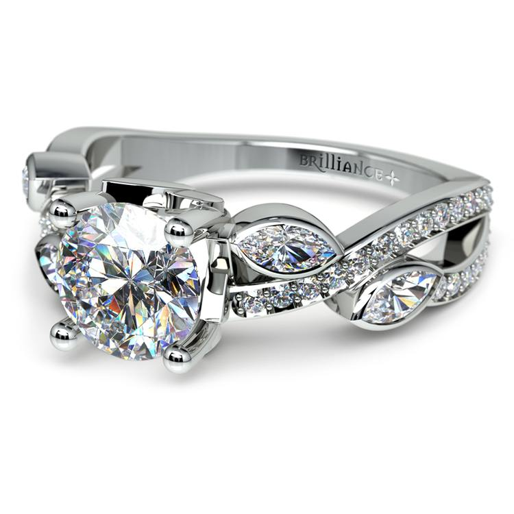 Twisted Petal Diamond Engagement Ring in White Gold | 04