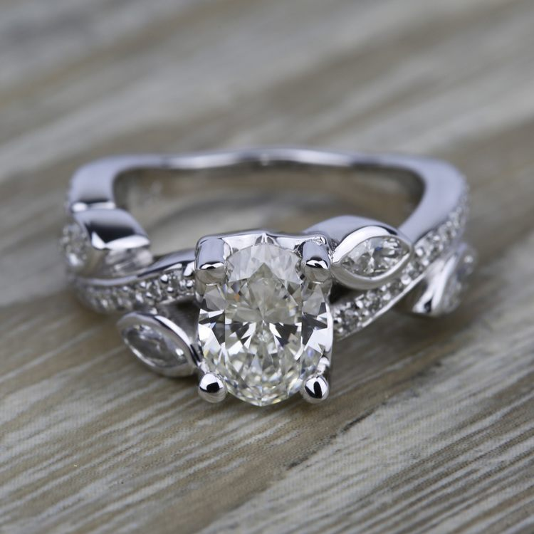 Twisted Petal Diamond Engagement Ring in White Gold | 05