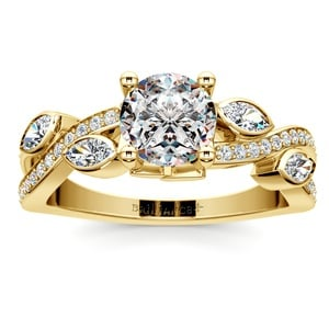 Twisted Petal Diamond Engagement Ring in Yellow Gold