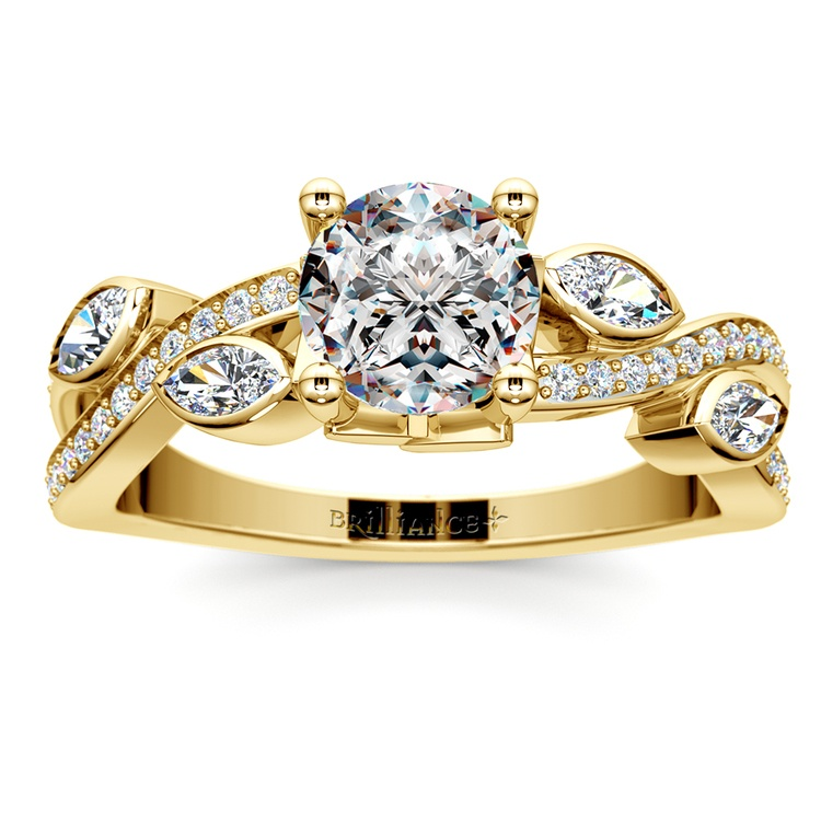 Twisted Petal Diamond Engagement Ring in Yellow Gold | 01