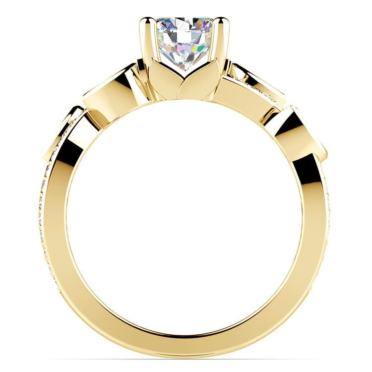 Twisted Petal Diamond Engagement Ring in Yellow Gold | 02