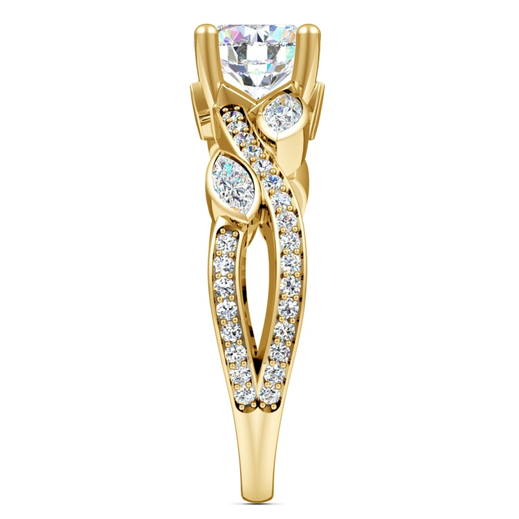 Twisted Petal Diamond Engagement Ring in Yellow Gold | 03