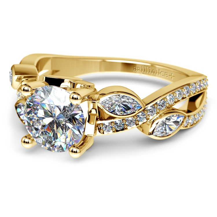 Twisted Petal Diamond Engagement Ring in Yellow Gold | 04