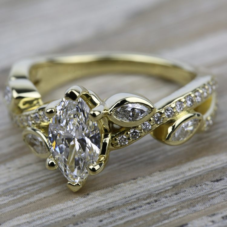 Twisted Petal Diamond Engagement Ring in Yellow Gold | 05