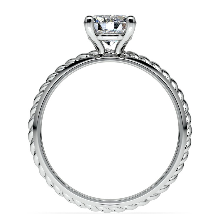 Twisted Rope Comfort Fit Solitaire Engagement Ring in Palladium  | 02