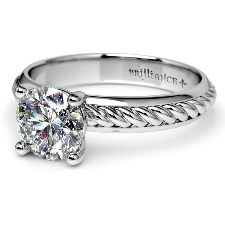 Twisted Rope Comfort Fit Solitaire Engagement Ring in Palladium  | 04