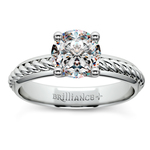Twisted Rope Comfort Fit Solitaire Engagement Ring in White Gold | Thumbnail 01