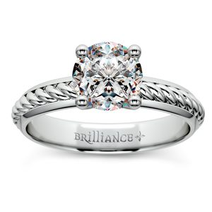 Twisted Rope Comfort Fit Solitaire Engagement Ring in White Gold