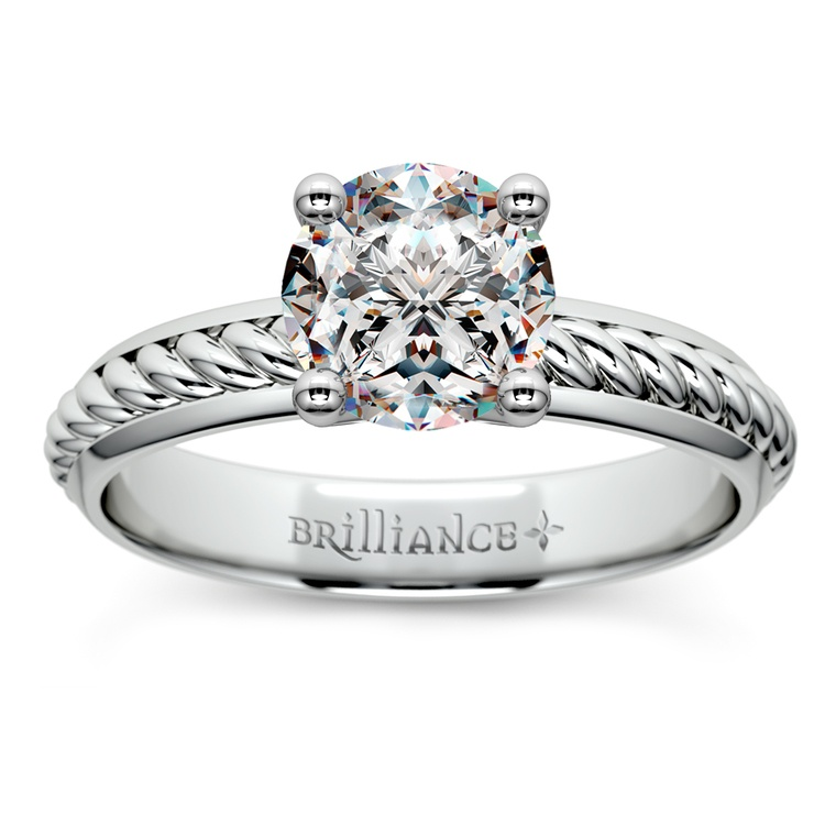 Twisted Rope Comfort Fit Solitaire Engagement Ring in White Gold | 01