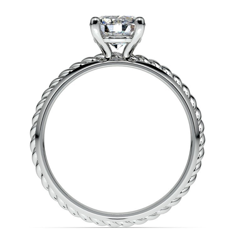 Twisted Rope Comfort Fit Solitaire Engagement Ring in White Gold | 02