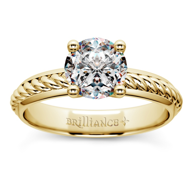 Twisted Rope Comfort Fit Solitaire Engagement Ring in Yellow Gold | 01