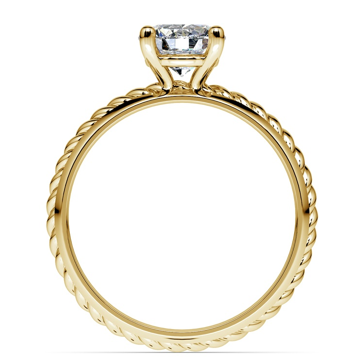Twisted Rope Comfort Fit Solitaire Engagement Ring in Yellow Gold | 02