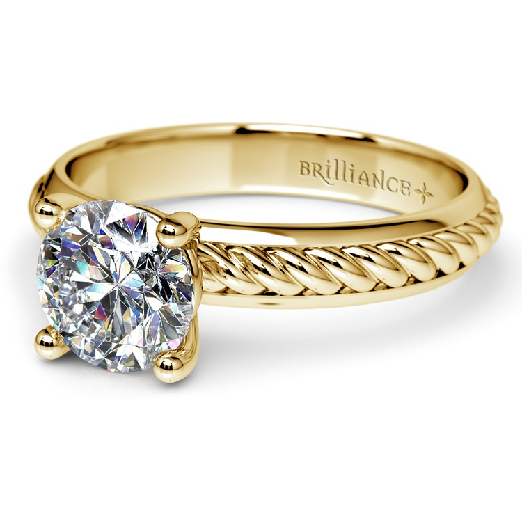 Twisted Rope Comfort Fit Solitaire Engagement Ring in Yellow Gold | 04